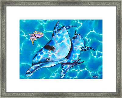 Yellowtail Snapper And  Dolphins Framed Print by Daniel Jean-Baptiste