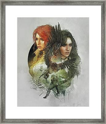 Yennefer And Triss Framed Print by Lobito Caulimon