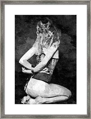 Yes Master Always - Submission In Bw, Sexy On Her Knees Framed Print by Edek Kredek