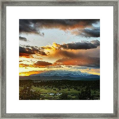 Mountain Sunset Framed Print by Joan McCool