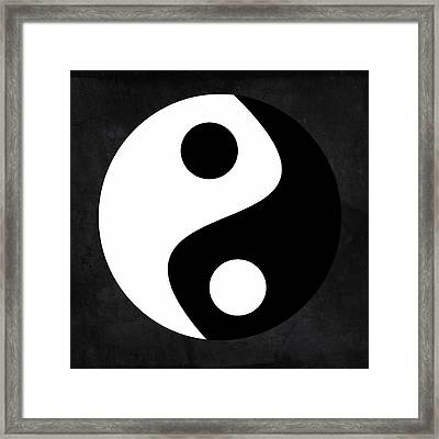 Yin And Yang - Black And White, Grey Framed Print