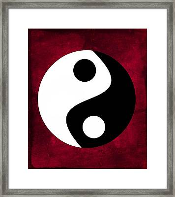 Yin And Yang - Dark Red Framed Print by Marianna Mills