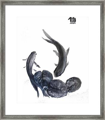 Framed Print featuring the painting Yin And Yang by Sibby S