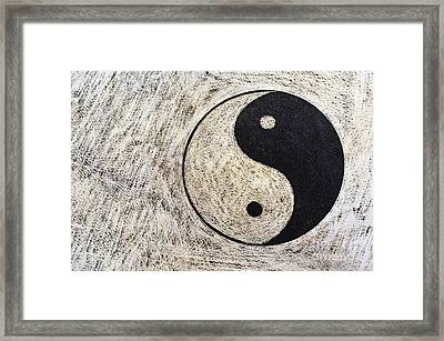 Yin And Yang Symbol On Drum Framed Print by Sami Sarkis
