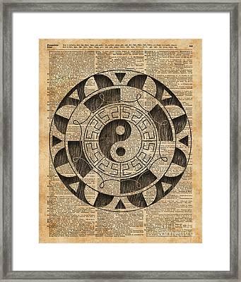 Yin And Yang Symbol Taijitu Mandala Vintage Dictionary Art Framed Print