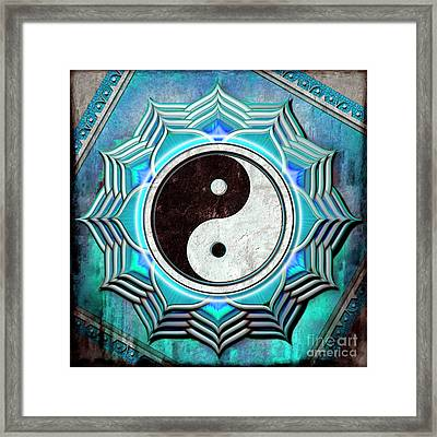 Yin Yang -  The Healing Of The Blue Chakra Framed Print