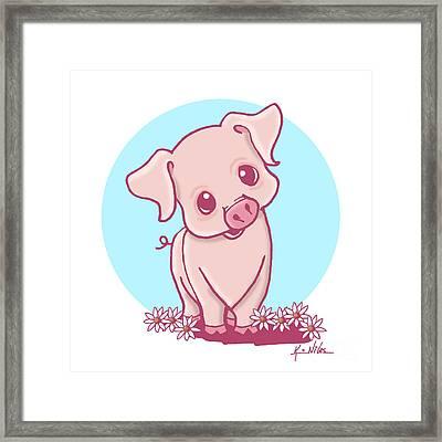Yittle Piggy Framed Print by Kim Niles