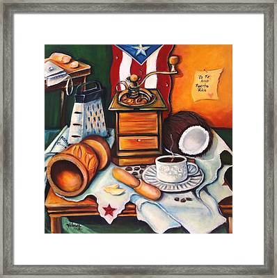 Framed Print featuring the painting Yo Te Amo Puerto Rico by Yolanda Rodriguez
