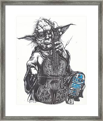 Yoda Soothes Baby R2 With The Charm Of His Homegrown Cello Framed Print