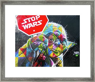 Framed Print featuring the photograph Yoda - Stop Wars by Juergen Weiss