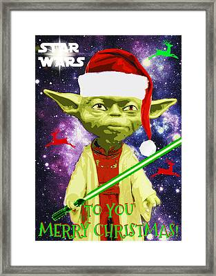 Yoda Wishes To You Merry Christmas Framed Print