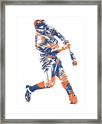 Yoenis Cespedes New York Mets Pixel Art 1 Framed Print