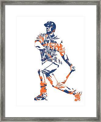 Yoenis Cespedes New York Mets Pixel Art 4 Framed Print