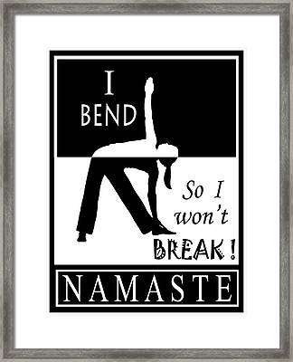 Yoga - Bend So You Won't Break Framed Print by Vagabond Folk Art - Virginia Vivier