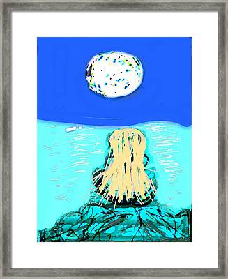 Yoga By The Sea Under The Moon Framed Print