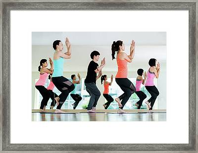Yoga Group In Class Room In Fitness Center Framed Print