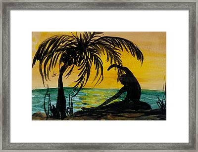 Yoga Seated Side Bend Framed Print