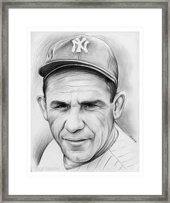 Yogi Berra Framed Print by Greg Joens