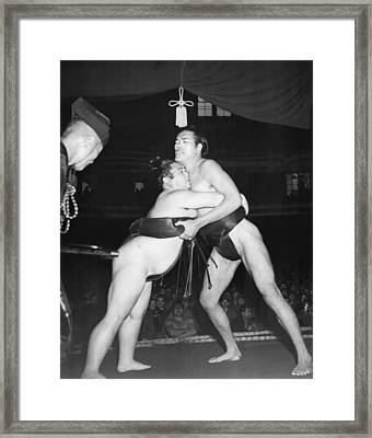 Yokozuna  Sumo Wrestler Framed Print by Underwood Archives