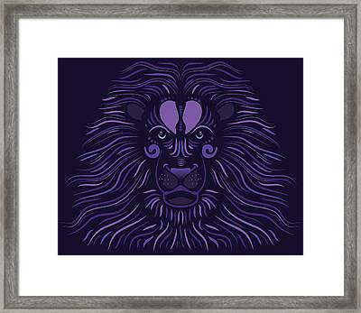 Yoni The Lion - Dark Framed Print by Serena King