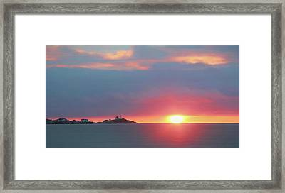 York Harbor At Dawn Framed Print by Lori Deiter