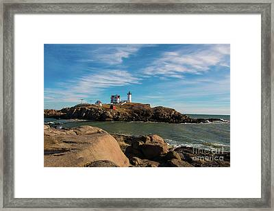York Maine Lighthouse The Nubble Framed Print by Mim White