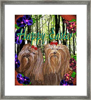 Framed Print featuring the digital art Yorkie Easter by Michelle Audas
