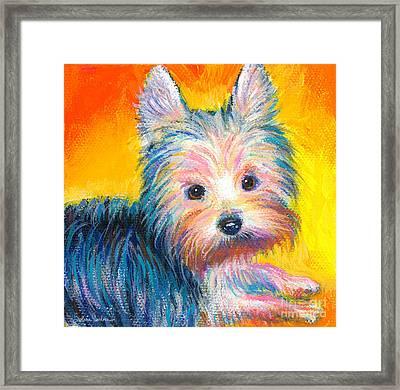Yorkie Puppy Painting Print Framed Print by Svetlana Novikova