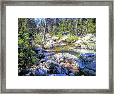 Yosemite Boulder Stream Framed Print