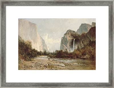 Yosemite Bridal Veil Falls Framed Print by Thomas Hill