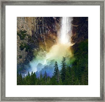 Yosemite Bridalveil Fall Rainbow Framed Print by Jeff Lowe