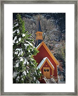 Yosemite Chapel At Christmas Visit Www.angeliniphoto.com For More Framed Print by Mary Angelini