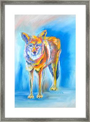 Framed Print featuring the pastel Yosemite Coyote by Pat Crowther