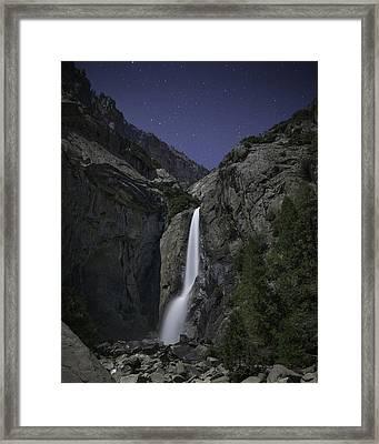 Yosemite Falls At Night Framed Print