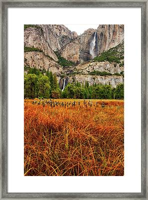 Yosemite Falls Autumn Colors Framed Print