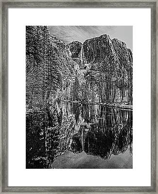 Yosemite Falls From The Swinging Bridge In Black And White Framed Print