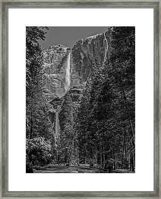 Yosemite Falls In Black And White IIi Framed Print by Bill Gallagher