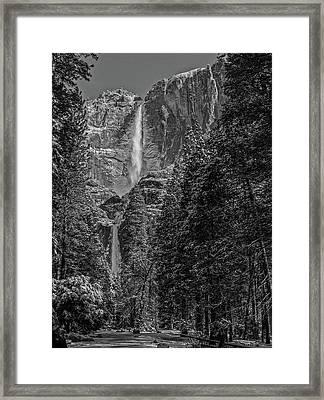 Yosemite Falls In Black And White IIi Framed Print