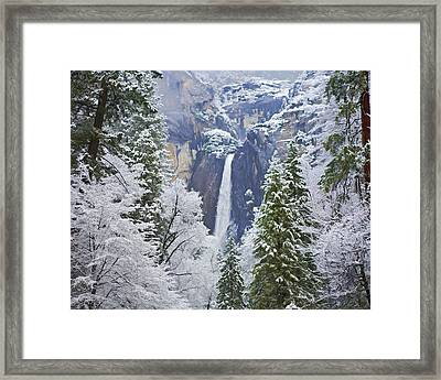 Yosemite Falls In The Snow Framed Print