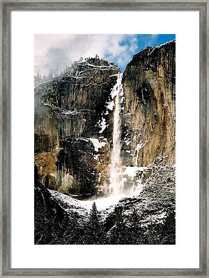 Yosemite Falls In Winter Framed Print by Michael  Cryer