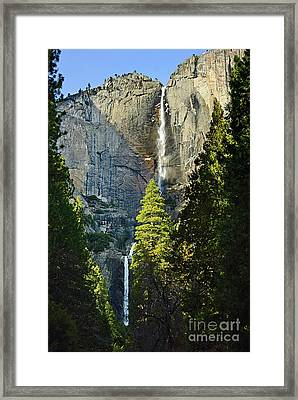 Yosemite Falls With Late Afternoon Light In Yosemite National Park. Framed Print