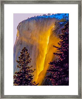 Yosemite Firefall Painting Framed Print by Dr Bob Johnston
