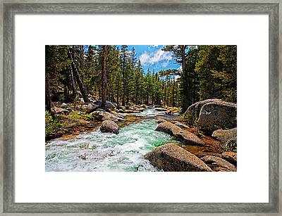 Yosemite Highland River In The Forest Framed Print by Nathaniel Grant