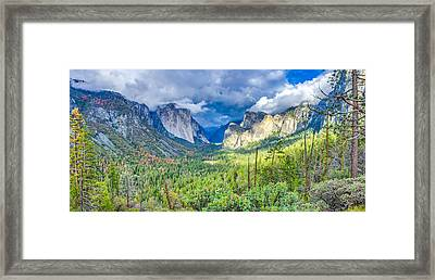 Yosemite Tunnel View Spring Storm Framed Print by Scott McGuire