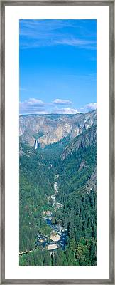 Yosemite Valley And Bridal Veil Falls Framed Print by Panoramic Images