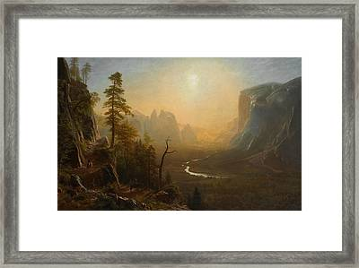 Yosemite Valley Glacier Point Trail Framed Print by Albert Bierstadt