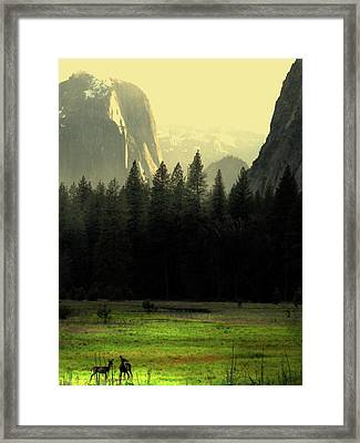 Yosemite Valley Golden . Vertical Framed Print by Wingsdomain Art and Photography