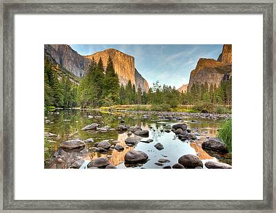 Yosemite Valley Reflected In Merced River Framed Print by Ben Neumann