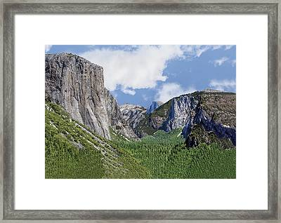 Yosemite Valley Showing El Capitan Half Dome And The Three Brothers Formation Framed Print