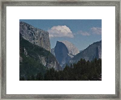 Yosemite View Of El Capitan And Half Dome Framed Print